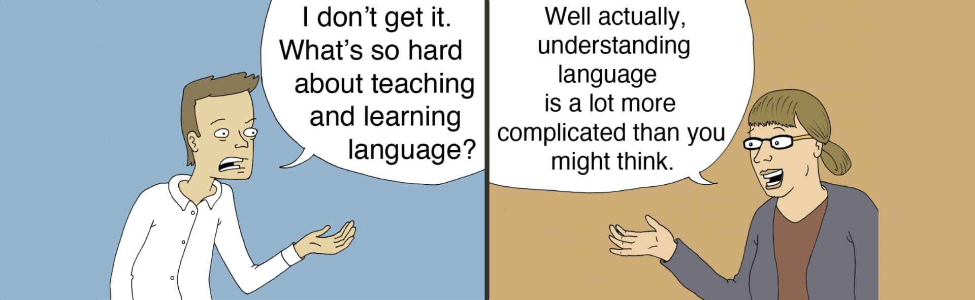 Cartoon of man and woman talking about language